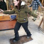 Testing the birch boot mat