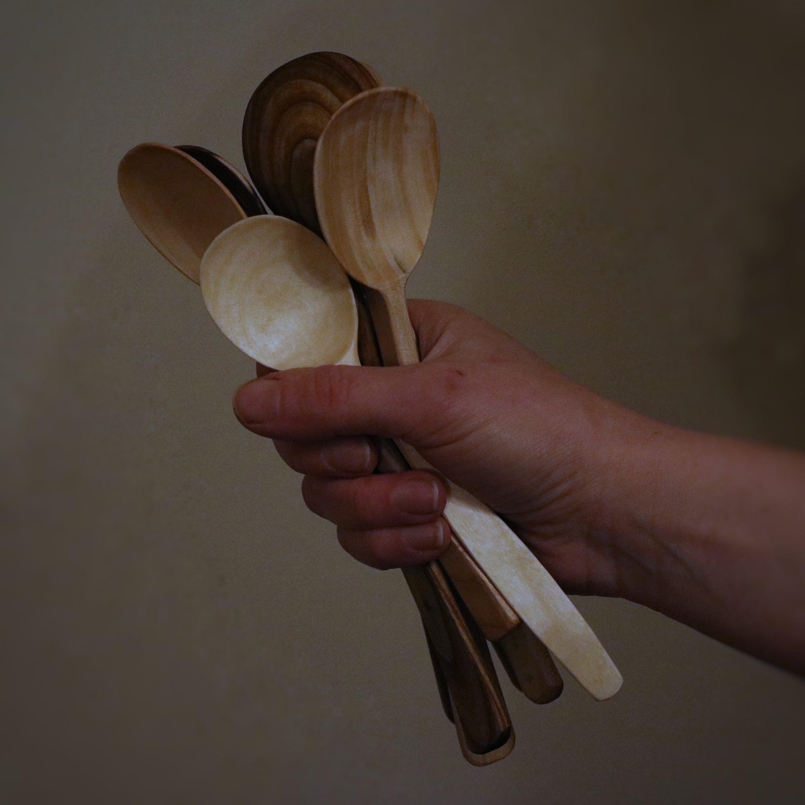 Handful of eating spoons